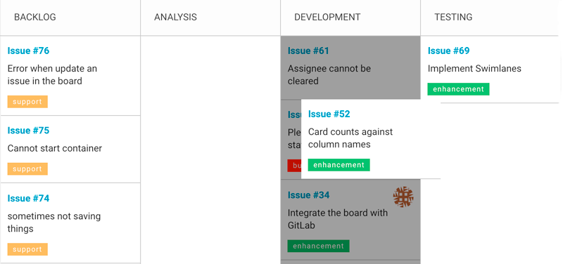 drag and drop beetween stages in kanban board